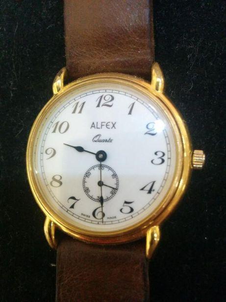 Alfex original swiss extraplat placat aur mecanism Quartz ETA 15 jewel
