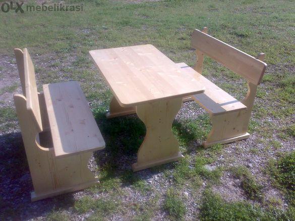 Градински Комплект Масив-маса с два броя пейки.НАЛИЧНИ!!!