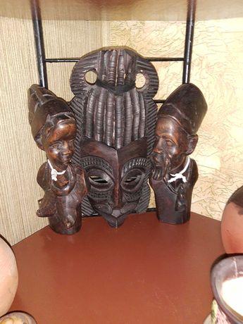 Маска и статуетки 2бр  абаносово дърво
