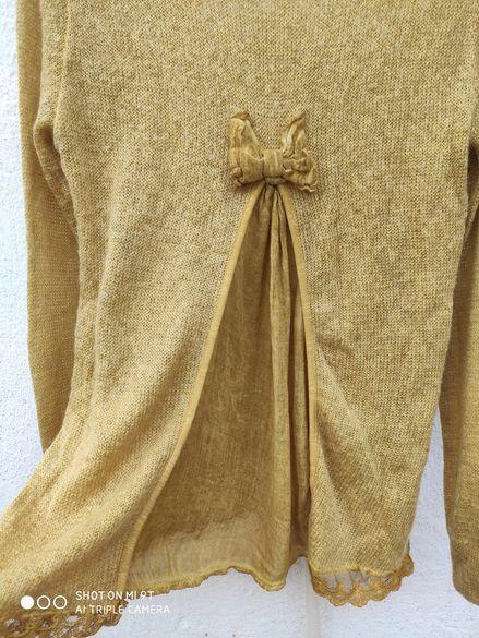 Paulo Venturi уникален дамски пуловер мохер и вълна М размер
