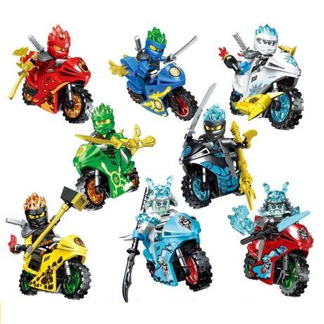 Set 8 Minifigurine tip Lego Ninjago cu 8 motociclete si Generalul Vex