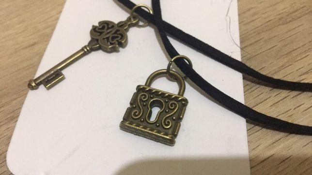 Pandantiv colier pentru cuplu 2 bucati la set lacat si cheie