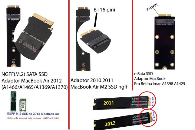 Adaptor Convertor Ssd m.2 ngff msata MacBook 2010 2011 7+17 \ 6+16 pin