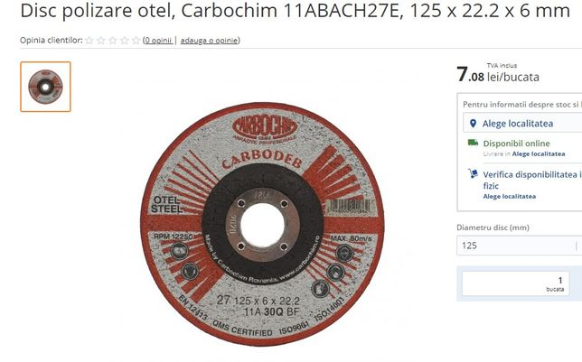 Disc polizare otel, Carbochim 11ABACH27E, 125 x 22.2 x 6 mm,