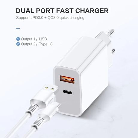 Iphone - Incarcator Fast Charger 18W + Cablu Usb - Compatibil