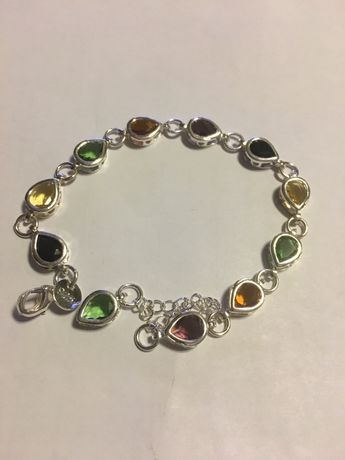Bratara mozaic quartz topaz citrin ametist marcat Argint 925 lung=19cm