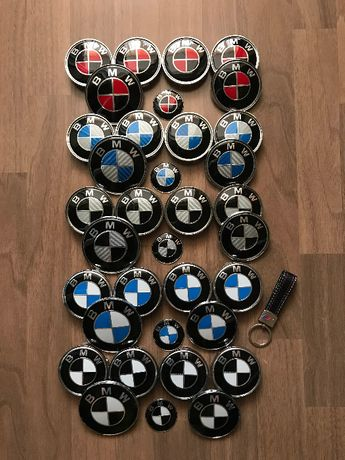 Semn emblema roti capota porbagaj si volan BMW + Breloc M piele CADOU!