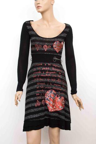 DESIGUAL Страхотна дамска рокля в черно и сиво размер S