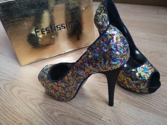 НОВИ Festissimo луксозни обувки със златни пайети висок ток, Размер 39