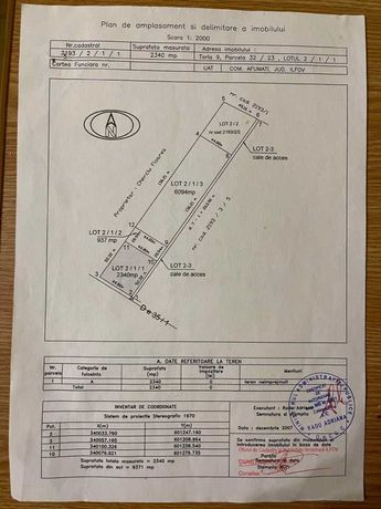 Afumati, vand teren intravilan ieftin pt lichiditate 2340mp 30 eur/mp
