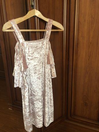 Платье нежно-розовое, велюровое, MANGO