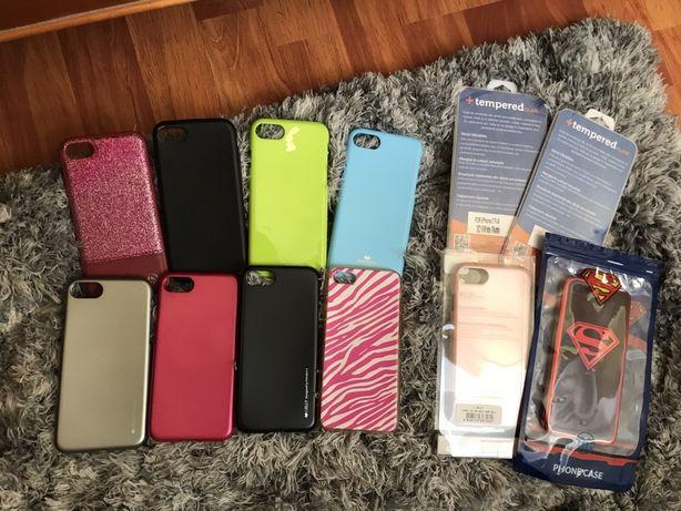 Huse bumpere iPhone 7 (merg 6s/8/ SE 2) folii fata full alb, negru