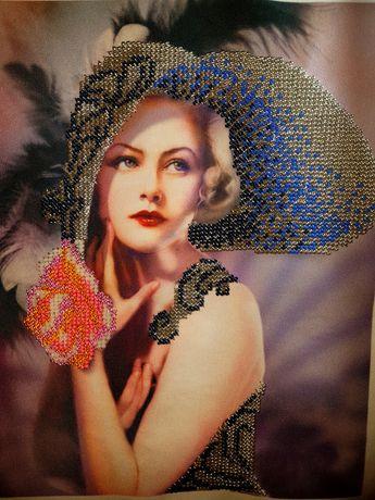 Lady- goblen cusut cu mărgele cehe