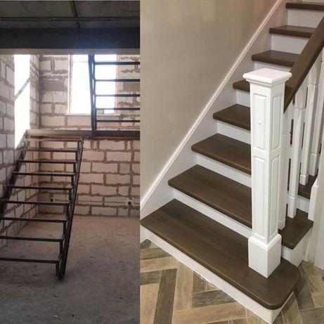 Лестница под ключ (металл, дерево)