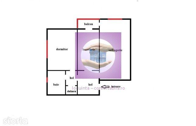 Apartament cu doua camere decomandat