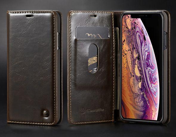 Husa iPhone X / XS, piele fina CaseMe, inchidere magnetica, wallet