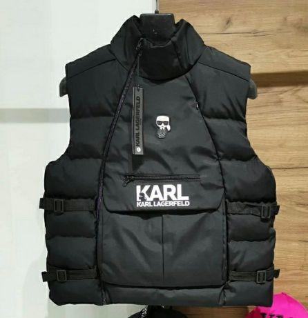 S/XXL Karl Lagerfeld непромокаем и ветроустойчив мъжки пухен елек!!!
