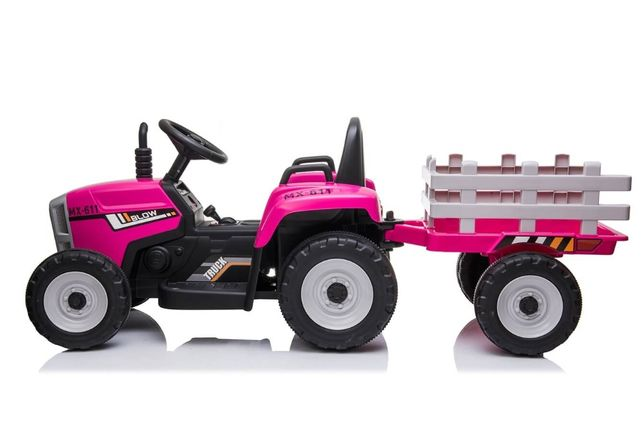 Tractor electric cu remorca pt copii BLOW TRUCK roti EVA (MX-611) Roz