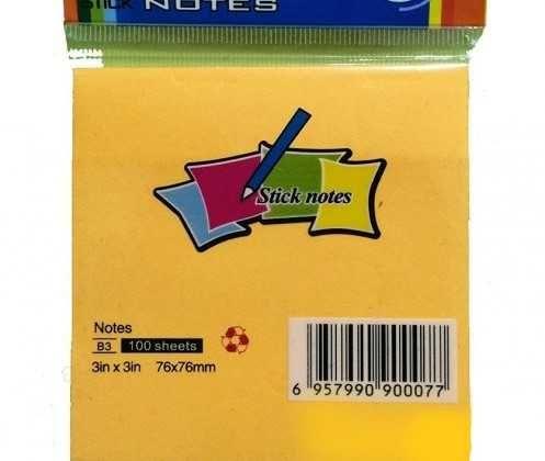 Кубче с лепящи листчета/76x76mm/жълто
