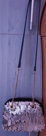 Geanta deosebita cu paiete și material, culoarea argintiu-negru