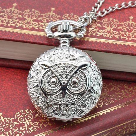 Ceas medalion argintiu bufnita