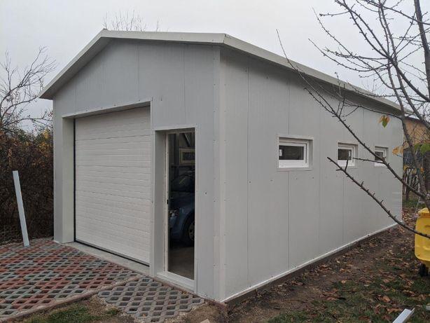 Garaj din structura metalica usoara, izolat+usa de garaj+pietonala