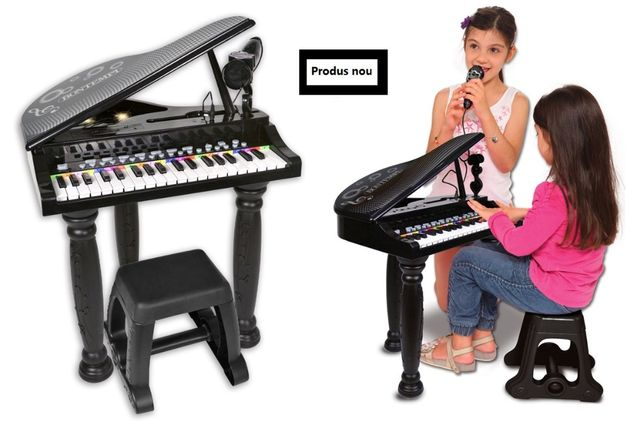 Mini pian pentru copii bontempo, 8 sunete, 4 ritmuri, microfon si scau