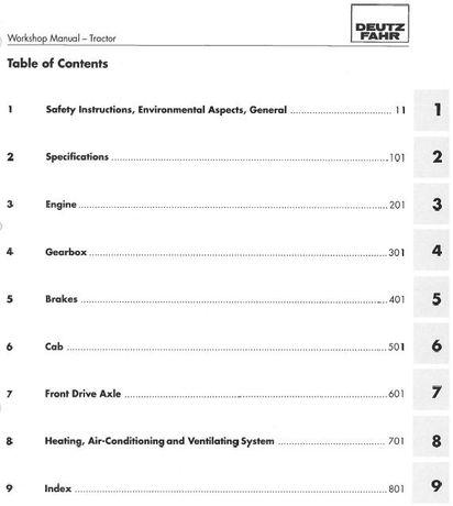 Manual service Deutz Fahr Agrotron 4.70, 4.80, 4.85, 4.90, 4.95 carte
