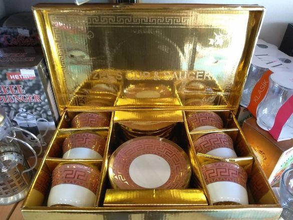 Луксозен сервиз за чай и кафе-6 броя керамични чаши+ 6 чинийки