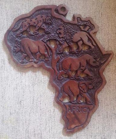 Harta Africii din lemn tare 32x27 cm