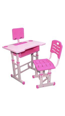 Birou cu scaun pentru copii, reglabile, din lemn cu suport pt tableta