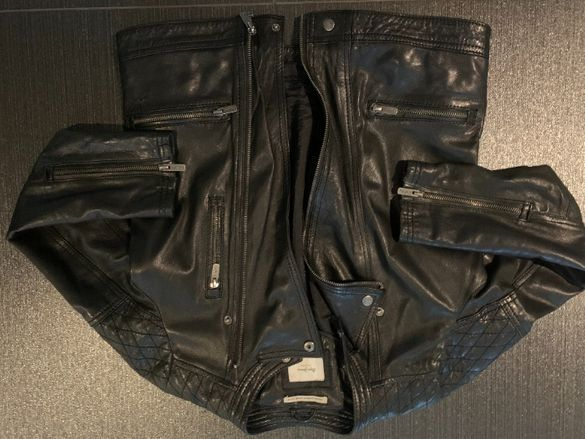 Кожено яке Pepe Jeans 12 години, 157 см (естествена черна кожа)