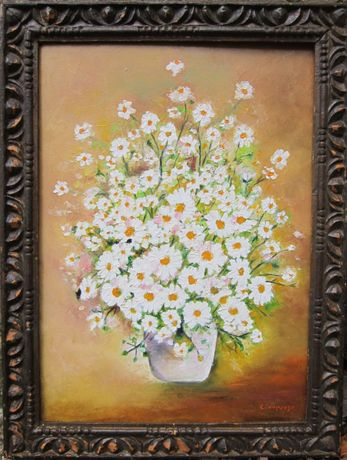 Tablou cos cu flori albe semnat Cimpoesu.