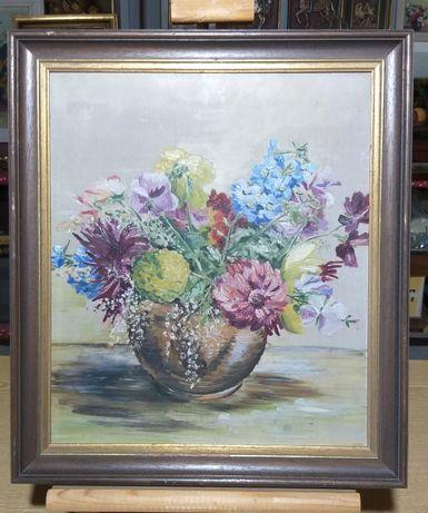 Tablou pictura ghiveci cu flori.