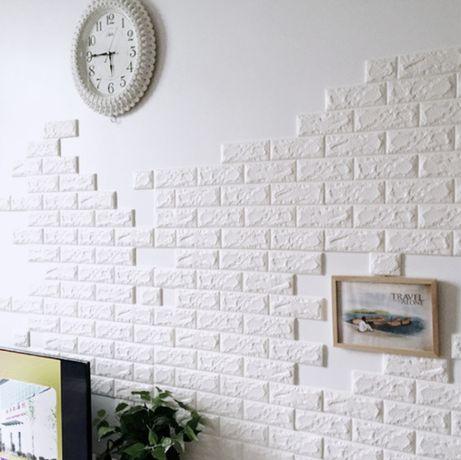 Стикери за стена от водоустойчива пяна бял тухла или камък ефект
