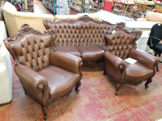 Canapea și fotolii stil baroc din piele