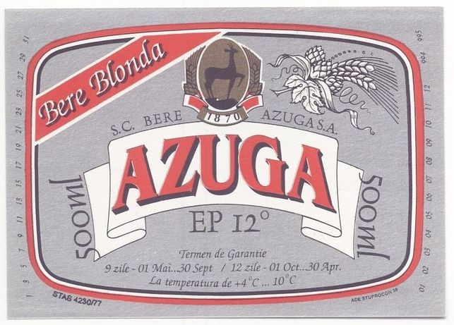 Lot etichete Bere Azuga 1994 (NOI, nefolosite, din fabrica!)