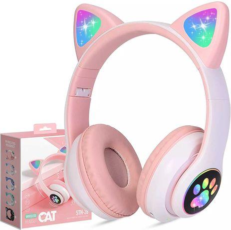 Безжични Слушалки котка CAT STN-28 Светещи блутут Цветни LED светлини