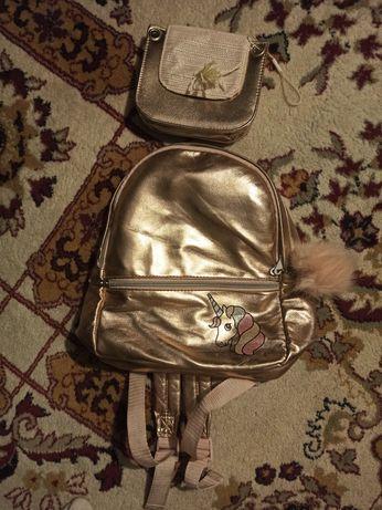 Портфель H&M для девочки б/у + маленькая сумочка за 1500тг.