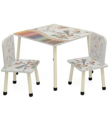 Set masuta activitati cu 2 scaune, din lemn