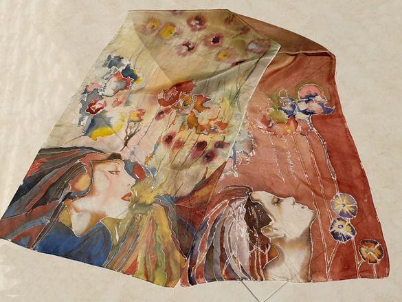 Шал, рисуван върху коприна. пролет и жена