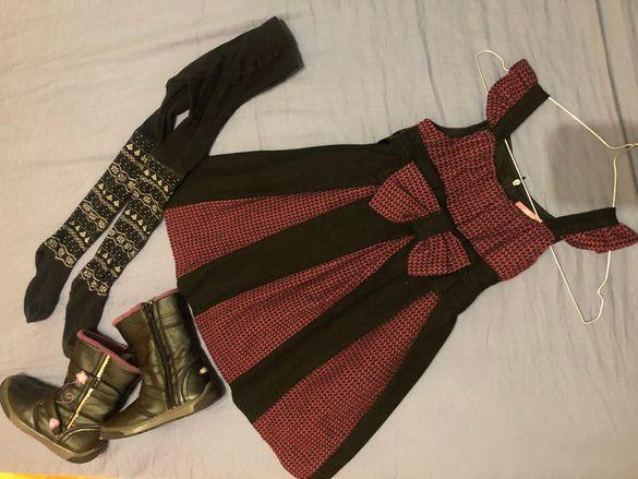 Комплект вълнена рокля момиче, чорапогащник и ботуши, 5 год.