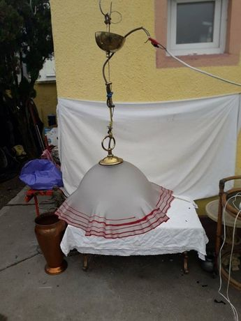 candelabru cu abajur din sticla italiana marcata