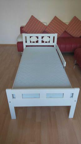 Кровать детская ИКЕА Криттер, белая (+реечное дно, матрас, бортик)