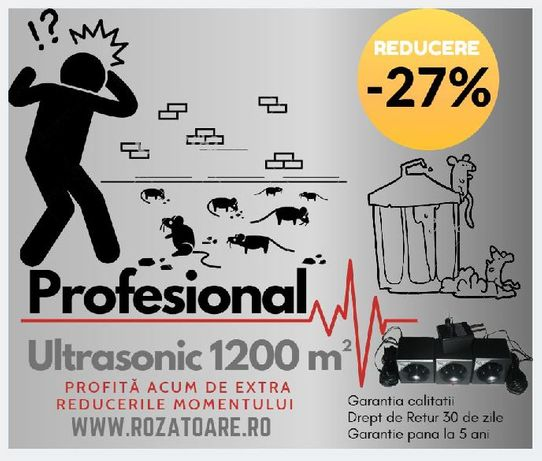 Aparat Anti soareci si Sobolani Industrial Ultrasonic 1200 m²