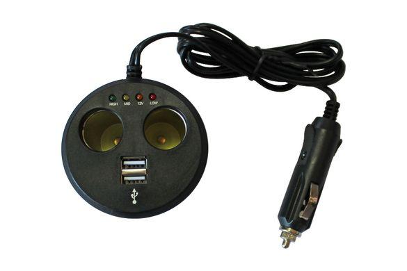 Разклонител Запалка Зарядно с 2 Букси Гнезда и 2 USB порта на 12V