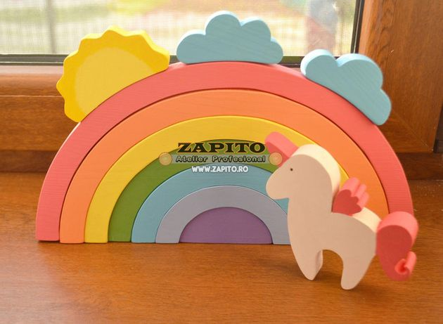 set jucarie curcubeu pastel din lemn cadou unicorn - jucarii waldorf