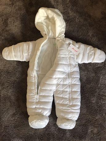 Combinezon alb fas costum de iarna 74 6-9 luni