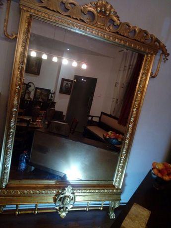 Oglinda mobilier vechi lemn masiv cu aur