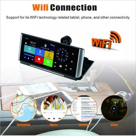 Navigatie Player Auto Sim card 4G cu DVR si 2 camere WiFi Android GPS